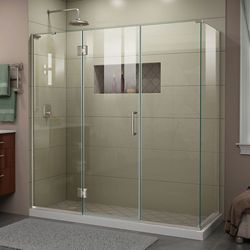 DreamLine Unidoor-X 70 inch W x 30 3/8 inch D x 72 inch H Frameless Enclosure in Brushed Nickel