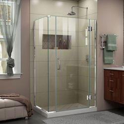 DreamLine Unidoor-X 40 inch W x 34 3/8 inch D x 72 inch H Frameless Hinged Shower Enclosure in Chrome
