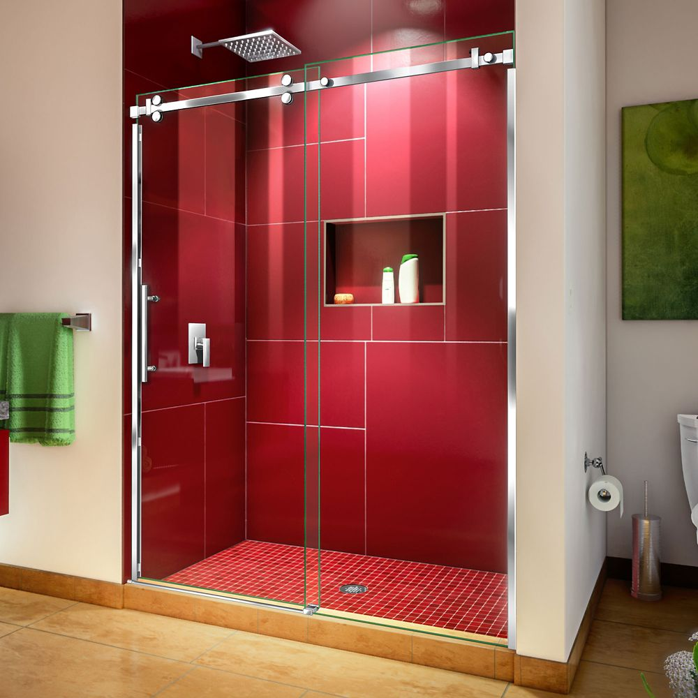 DreamLine Enigma Sky 56-60 inch W x 76 inch H Sliding Shower Door in Polished Stainless Steel