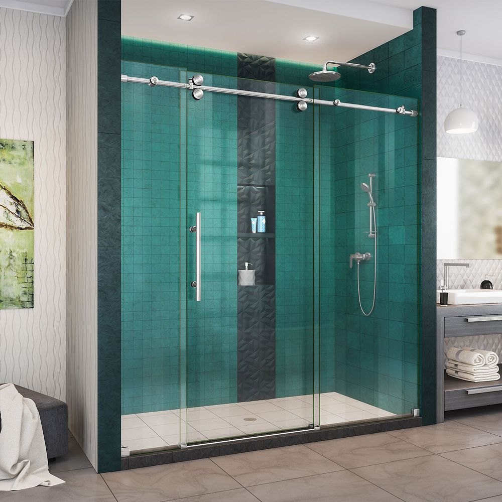 DreamLine Enigma-XO 68-72 inch W x 76 inch H Fully Sliding Shower Door in Brushed Stainless Steel