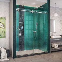 DreamLine Enigma-XO 56-60 inch W x 76 inch H Fully Sliding Shower Door in Brushed Stainless Steel