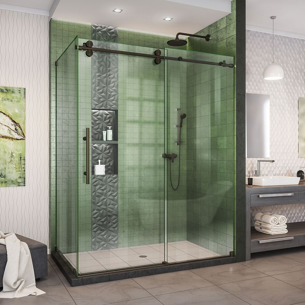 DreamLine Enigma-XO 34 1/2 inch D x 56 3/8-60 3/8 inch W x 76 inch H Shower Enclosure in Stainless Steel