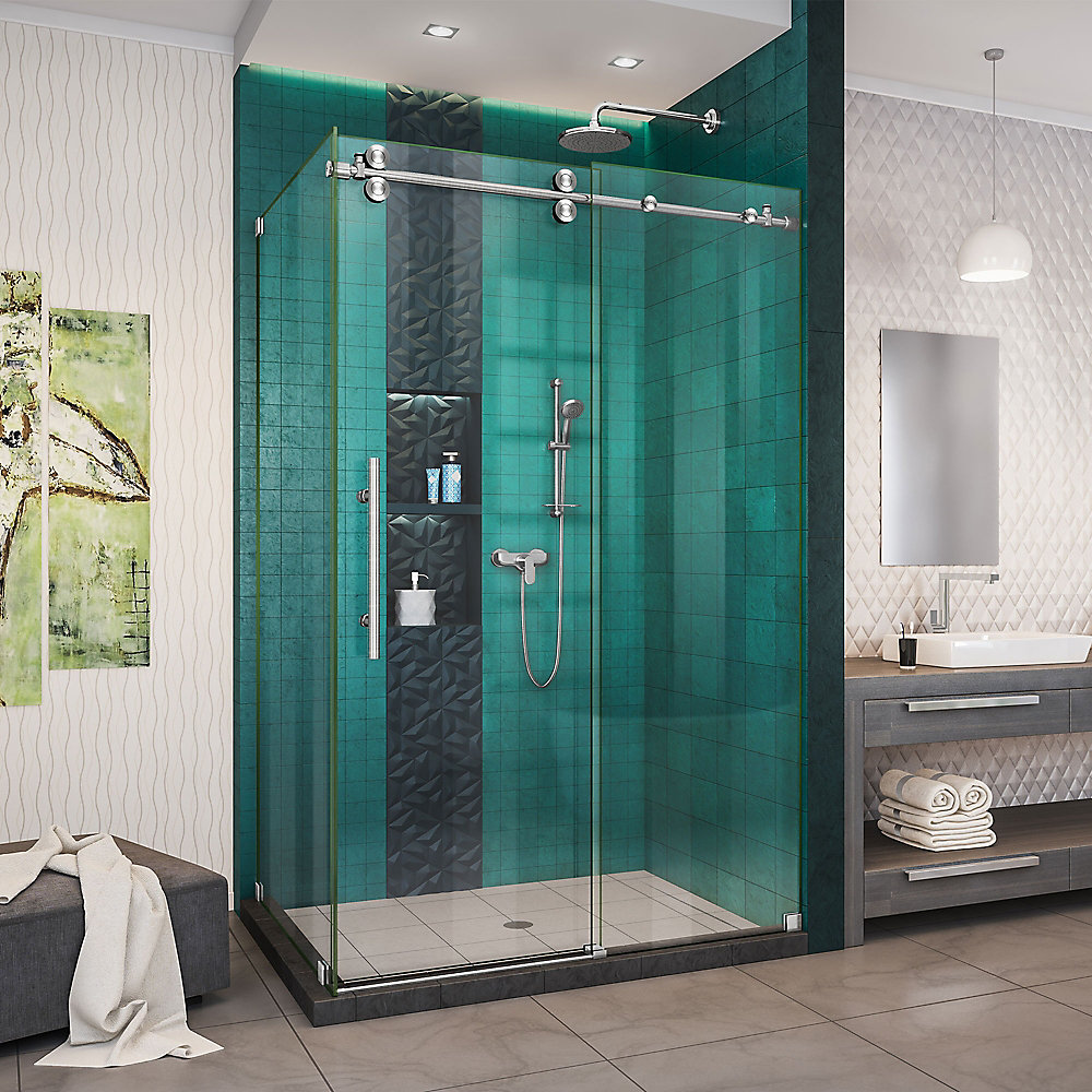 Enigma-XO 32 1/2 inch D x 44 3/8-48 3/8 inch W x 76 inch H Shower Enclosure in Brushed Steel