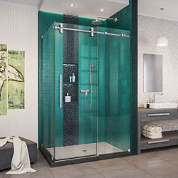 DreamLine Enigma-XO 32 1/2 inch D x 44 3/8-48 3/8 inch W x 76 inch H Shower Enclosure in Brushed Steel