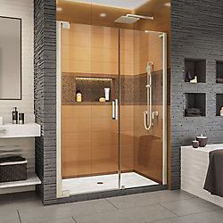 DreamLine Elegance-LS 49 - 51 inch W x 72 inch H Frameless Pivot Shower Door in Brushed Nickel