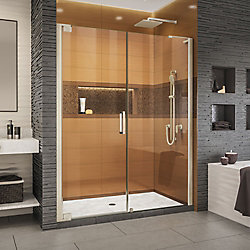 DreamLine Elegance-LS 58 1/2 - 60 1/2 inch W x 72 inch H Frameless Pivot Shower Door in Brushed Nickel