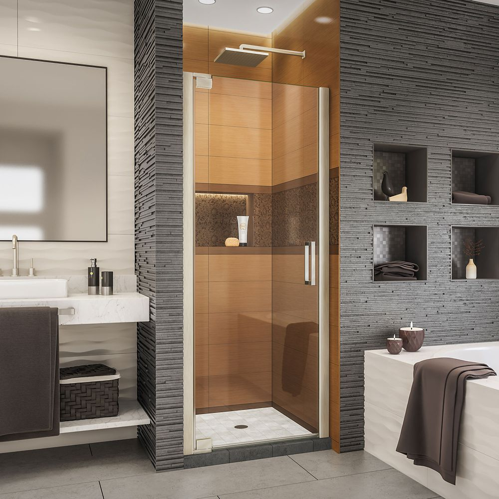 DreamLine Elegance-LS 34 - 36 inch W x 72 inch H Frameless Pivot Shower Door in Brushed Nickel