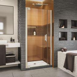 DreamLine Elegance-LS 32 3/4 - 34 3/4 inch W x 72 inch H Frameless Pivot Shower Door in Brushed Nickel