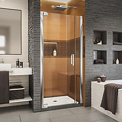 DreamLine Elegance-LS 32 3/4 - 34 3/4 inch W x 72 inch H Frameless Pivot Shower Door in Chrome