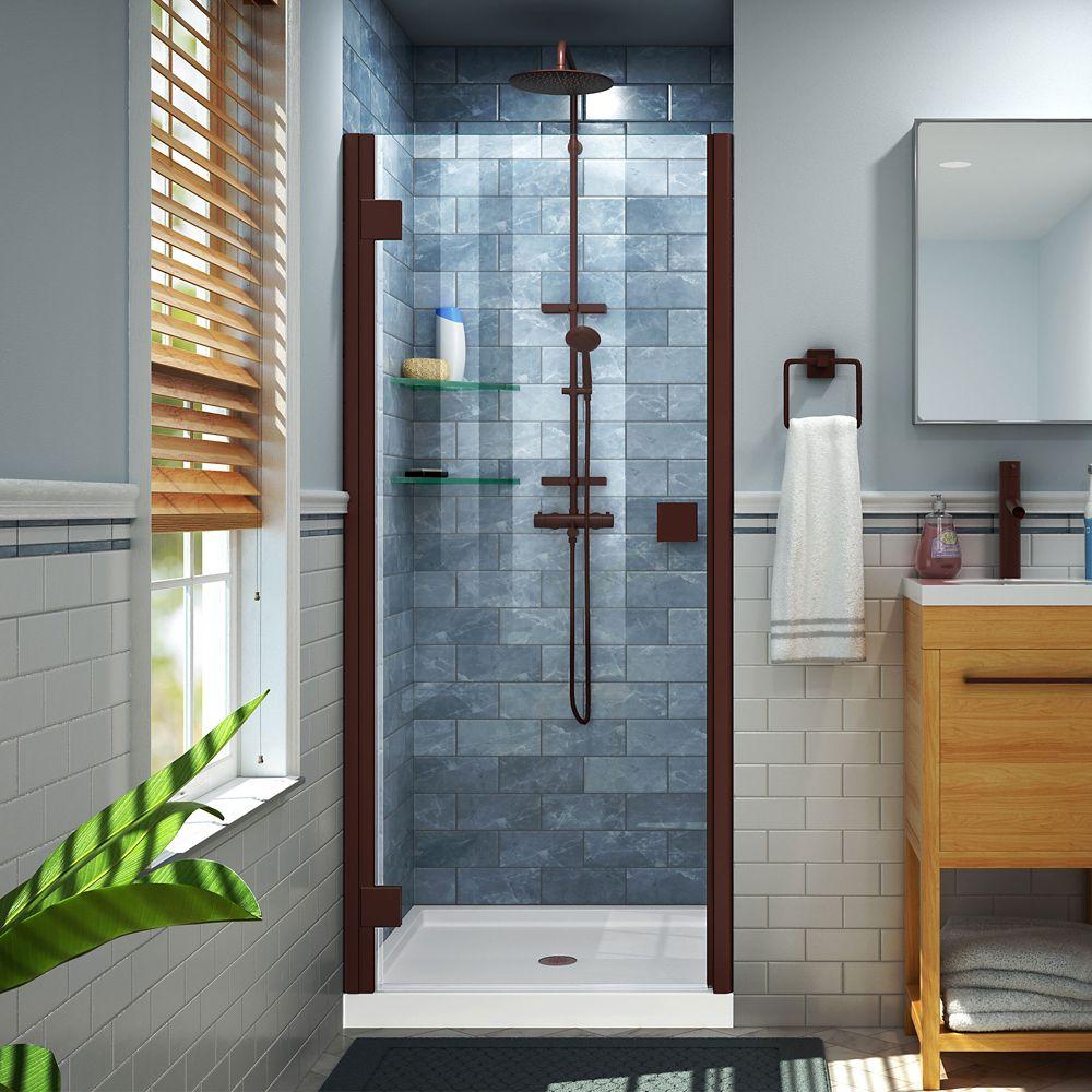 DreamLine Lumen 34-35 inch W x 66 inch H Semi-Frameless Hinged Shower Door in Oil Rubbed Bronze