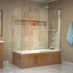 DreamLine Aqua Swing 56-60 inch W x 30 inch D x 58 inch H Tub Door with Return Panel in Chrome