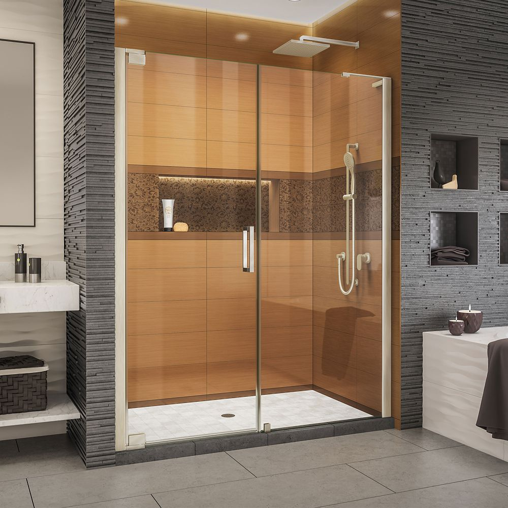 DreamLine Elegance-LS 60 1/4 - 62 1/4 inch W x 72 inch H Frameless Pivot Shower Door in Brushed Nickel