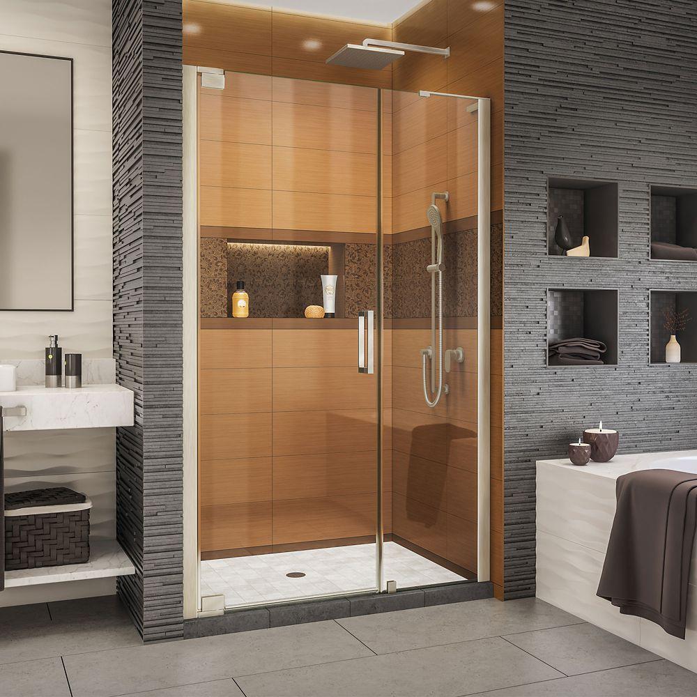 DreamLine Elegance-LS 50 - 52 inch W x 72 inch H Frameless Pivot Shower Door in Brushed Nickel