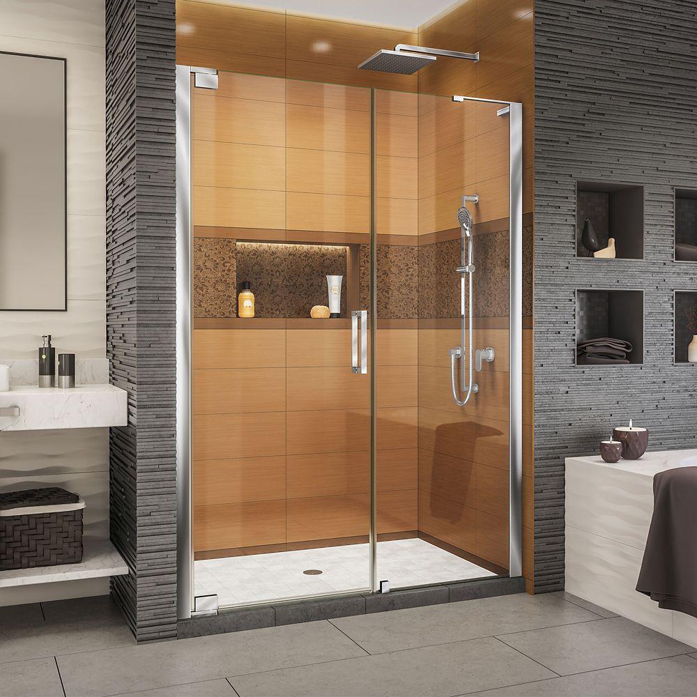 DreamLine Elegance-LS 56 - 58 inch W x 72 inch H Frameless Pivot Shower Door in Chrome