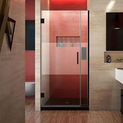 DreamLine Unidoor Plus 29-29-1/2 inch W x 72 inch H Hinged Shower Door, Frosted Band, Satin Black