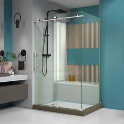 DreamLine Enigma-X 32 1/2 inch D x 48 3/8 inch W x 76 inch H Sliding Shower Enclosure in Brushed Steel Finish