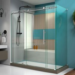 DreamLine Enigma-X 32 1/2 inch D x 72 3/8 inch W x 76 inch H Sliding Shower Enclosure in Polished Steel