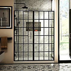 Unidoor Toulon 58-58 1/2 inch W x 72 inch H Frameless Hinged Shower Door in Satin Black