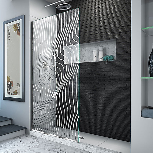 Platinum Linea Surf 34 inch W x 72 inch H Single Panel Shower Screen in Polished Stainless Steel