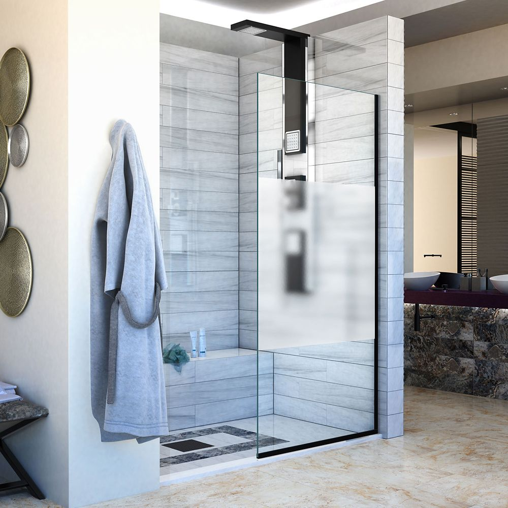 DreamLine Linea Single Panel Shower Screen 34 inch W x 72 inch H, Frosted Privacy Band Glass in Satin Black