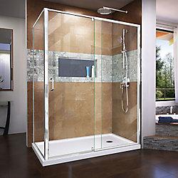 Flex 34 1/2 inch D x 56-60 inch W x 72 inch H Semi-Frameless Pivot Shower Enclosure in Chrome