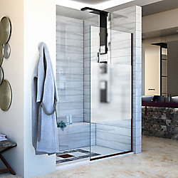 DreamLine Linea Single Panel Shower Screen 30 inch W x 72 inch H Frosted Privacy Band Glass in Rubbed Bronze