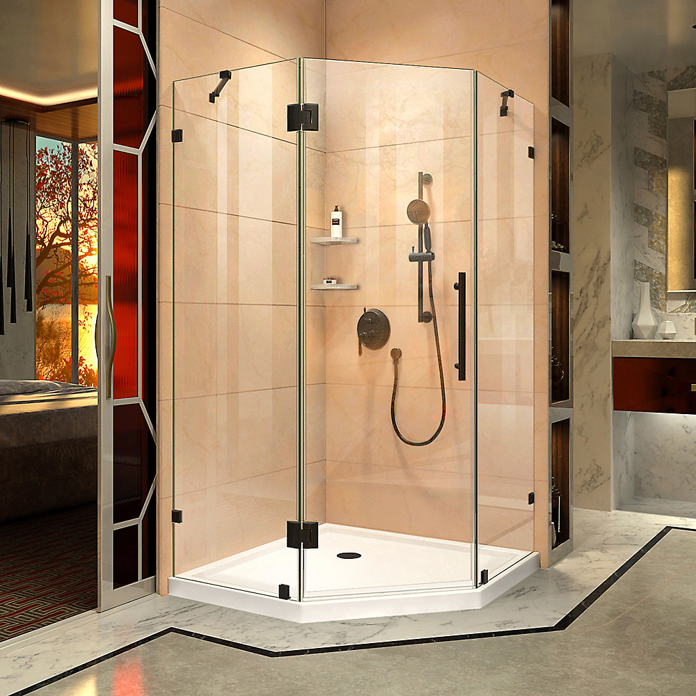 Prism Lux 34 5/16 inch D x 34 5/16 inch W x 72 inch H Fully Shower Enclosure in Satin Black