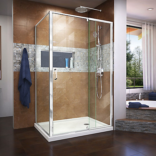 Flex 34 1/2 inch D x 44-48 inch W x 72 in H. Semi-Frameless Pivot Shower Enclosure in Chrome