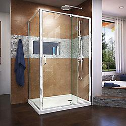 Flex 34 1/2 inch D x 44-48 inch W x 72 in H. Semi-Frameless Pivot Shower Enclosure in Chrome