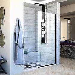 DreamLine Linea Single Panel Shower Screen 30 inch W x 72 inch H, Open Entry Design in Satin Black