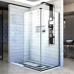DreamLine Linea Two Adjacent Shower Screens 34 inch and 30 inch W x 72 inch H, Open Entry Design in Black