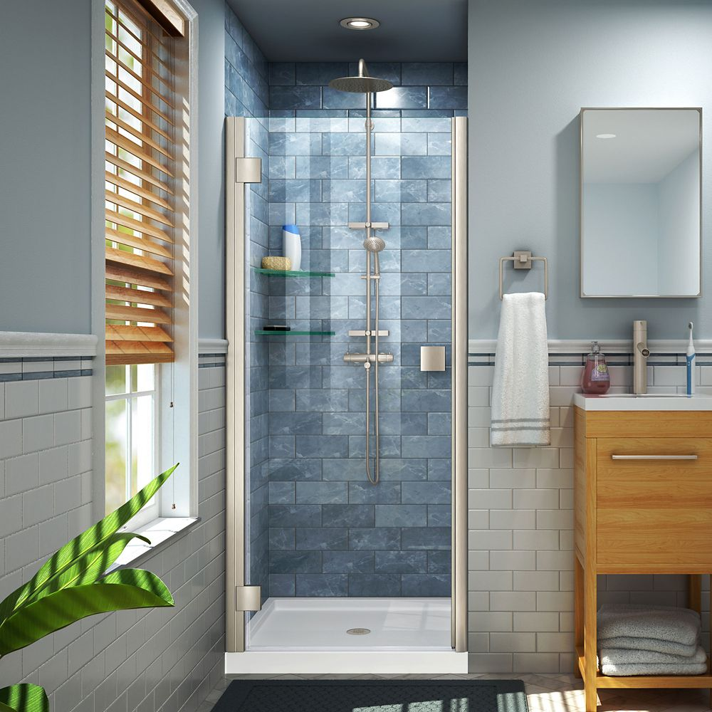 DreamLine Lumen 30-31 inch W x 66 inch H Semi-Frameless Hinged Shower Door in Brushed Nickel