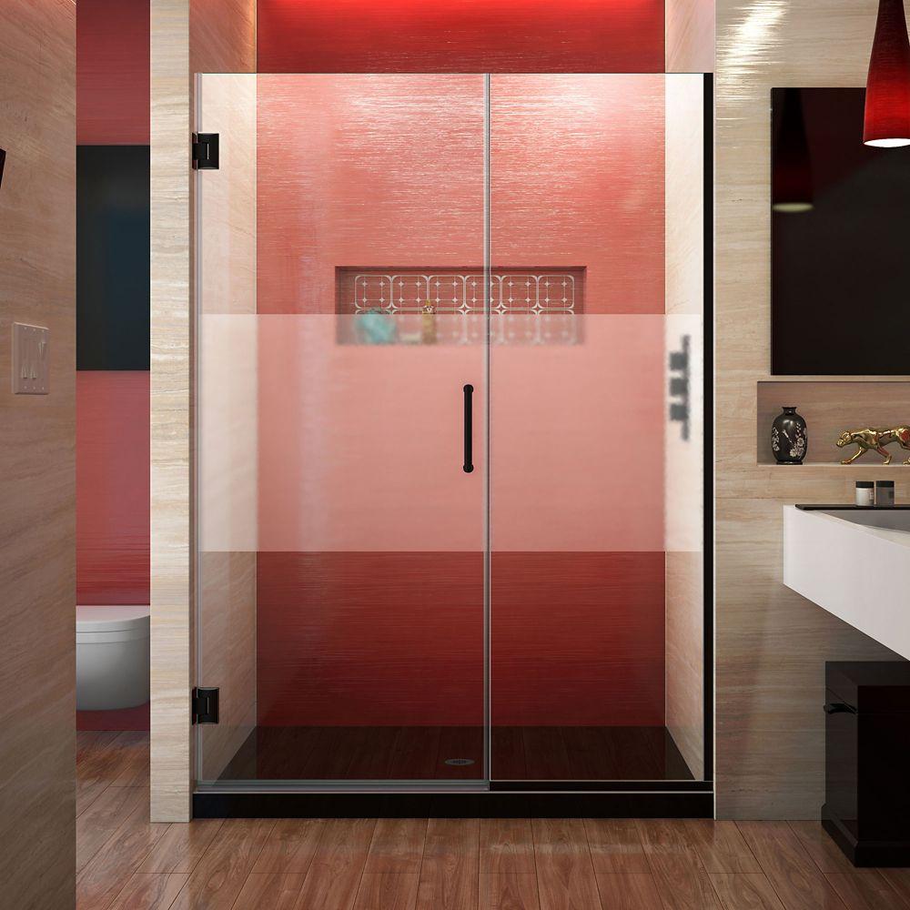 DreamLine Unidoor Plus 45 1/2 - 46 inch W x 72 inch H Frameless Shower Door, Frosted Band, Satin Black