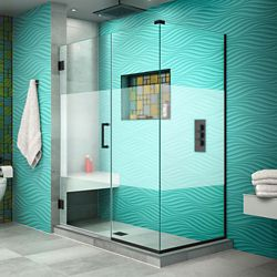 DreamLine Unidoor Plus 47 inch W x 34 3/8 inch D x 72 inch H Shower Enclosure, Frosted Band, Satin Black