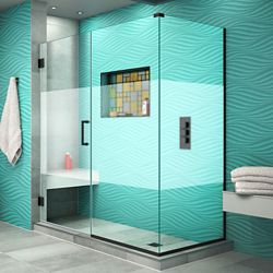 DreamLine Unidoor Plus 56 1/2 inch W x 34 3/8 inch D x 72 inch H Shower Enclosure, Frosted Band, Satin Black