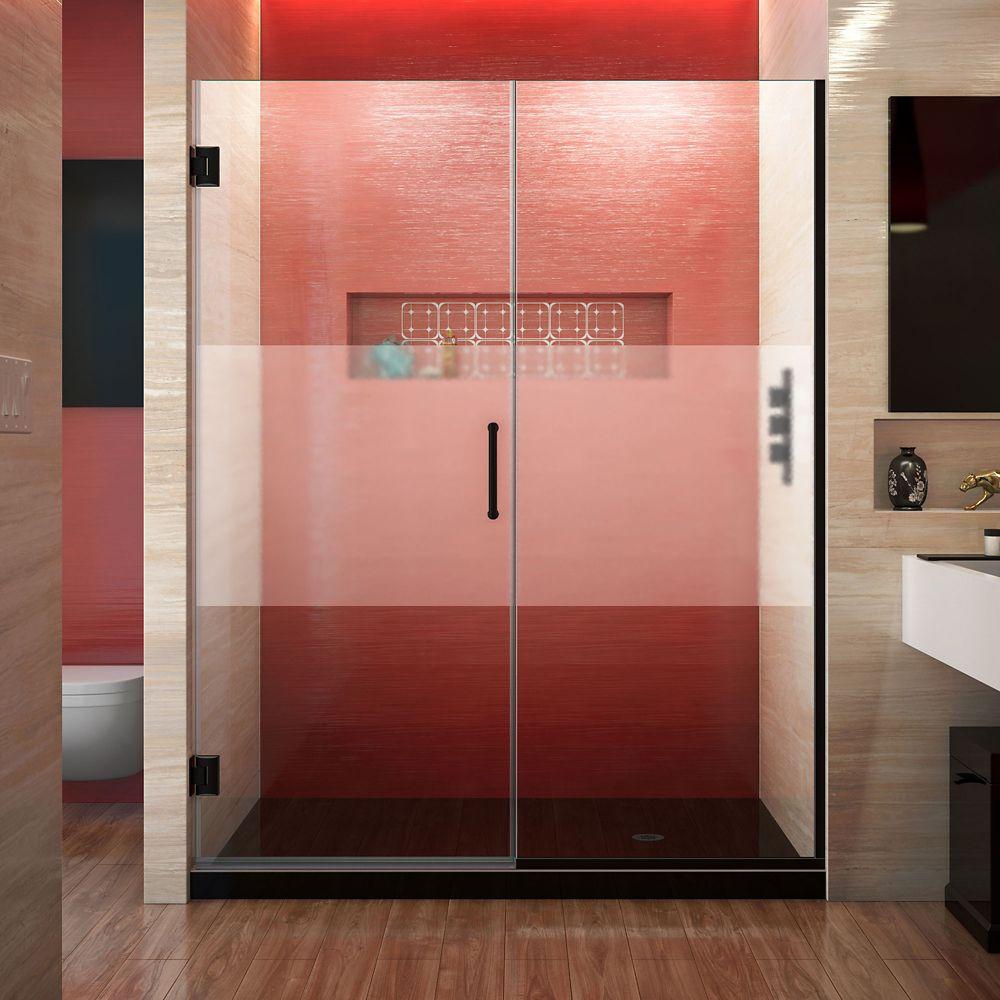 DreamLine Unidoor Plus 57 1/2 - 58 inch W x 72 inch H Frameless Shower Door, Frosted Band, Satin Black