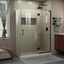 DreamLine Unidoor-X 48 3/8 inch W x 34 inch D Frameless Shower Enclosure in Satin Black