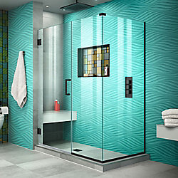 DreamLine Unidoor Plus 52 inch W x 34 3/8 inch D x 72 inch H Shower Enclosure Satin Black