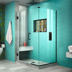 DreamLine Unidoor Plus 38 1/2 inch W x 34 3/8 inch D x 72 inch H Shower Enclosure, Clear Glass, Satin Black