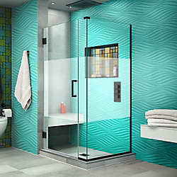 DreamLine Unidoor Plus 30 inch W x 34 3/8 inch D x 72 inch H Shower Enclosure, Frosted Band, Satin Black