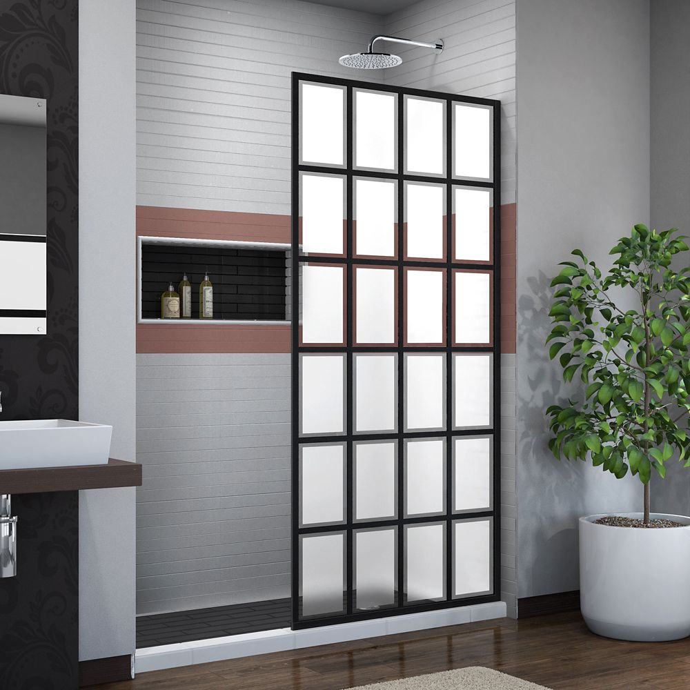 DreamLine French Linea Rhone 34 inch W x 72 inch H Single Panel Shower Door, Open Entry Design in Satin Black