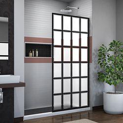 DreamLine French Linea Rhone 34 inch W x 72 inch H Single Panel Shower Door, Open Entry Design in Satin Black