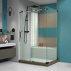 Enigma-XT 34 1/2 inch D x 48 3/8 inch W x 76 inch H Fully Sliding Shower Enclosure in Tuxedo Finish