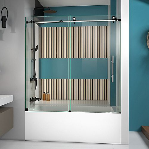 DreamLine Enigma-XT 55-59 inch W x 62 inch H Fully Frameless Sliding Tub Door in Tuxedo Finish