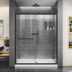DreamLine Infinity-Z 50-54 inch W x 72 inch H Semi-Frameless Sliding Shower Door in in Oil Rubbed Bronze