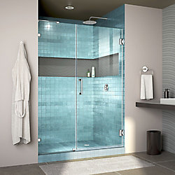 DreamLine Unidoor Lux 47 inch W x 72 inch H Fully Frameless Hinged Shower Door with L-Bar in Chrome