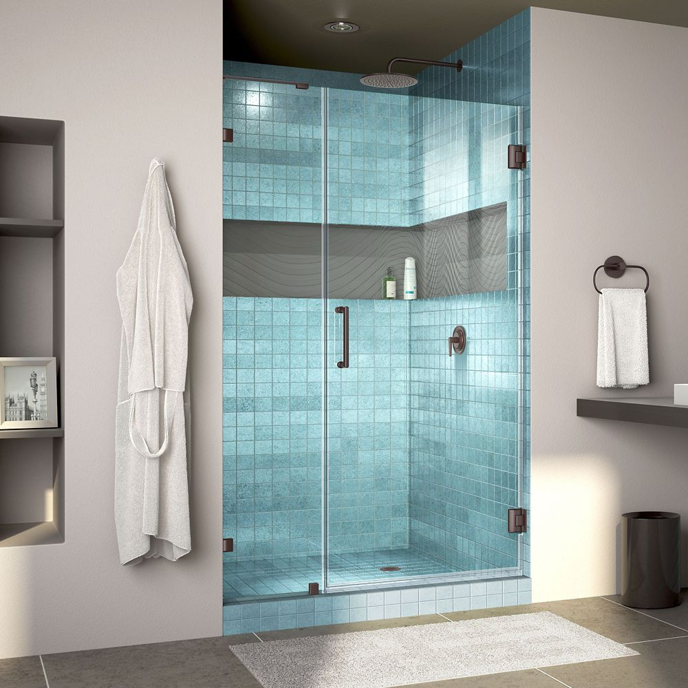 DreamLine Unidoor Lux 37 inch W x 72 inch H Fully Frameless Shower Door with L-Bar in Oil Rubbed Bronze