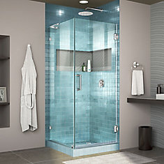 Unidoor Lux 30 3/8 inch W x 30 inch D x 72 inch H Shower Enclosure with L-Bar in Chrome