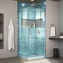 DreamLine Unidoor Lux 30 3/8 inch W x 30 inch D x 72 inch H Shower Enclosure with L-Bar in Brushed Nickel