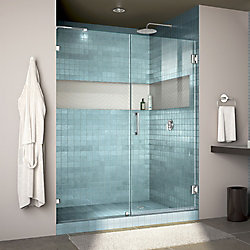 Unidoor Lux 58 inch W x 72 inch H Fully Frameless Hinged Shower Door with L-Bar in Chrome
